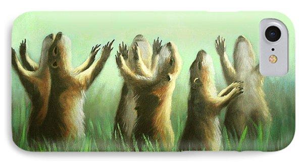 Praising Prairie Dogs Phone Case by Anthony Falbo
