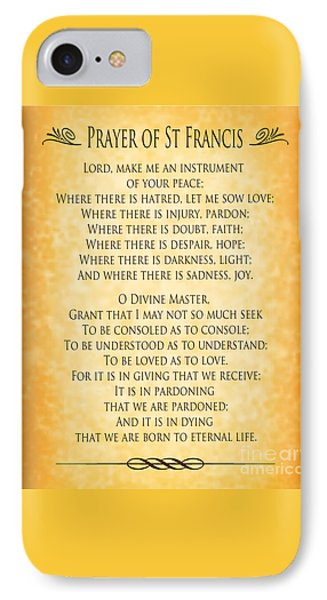 Prayer Of St Francis - Pope Francis Prayer - Gold Parchment IPhone Case by Ginny Gaura