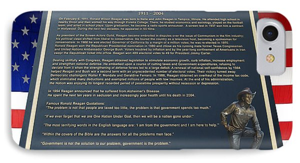 President Ronald Reagan Plaque Phone Case by Thomas Woolworth