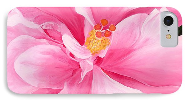 Pretty Pink Hibiscus Painting Phone Case by Lisa Bentley