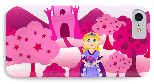 Princess And Pink Castle Landscape IPhone Case by Sylvie Bouchard