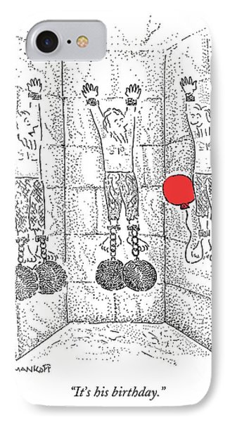Prisoner In Dungeon Has Orange Balloons Attached IPhone Case by Robert Mankoff