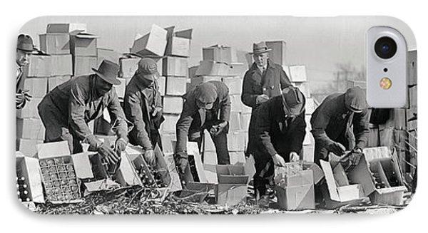Prohibition Feds Destroy Liquor  1923 IPhone Case by Daniel Hagerman
