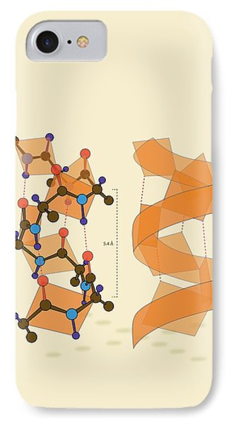 Protein Alpha Helix Structure IPhone Case by Ramon Andrade 3dciencia