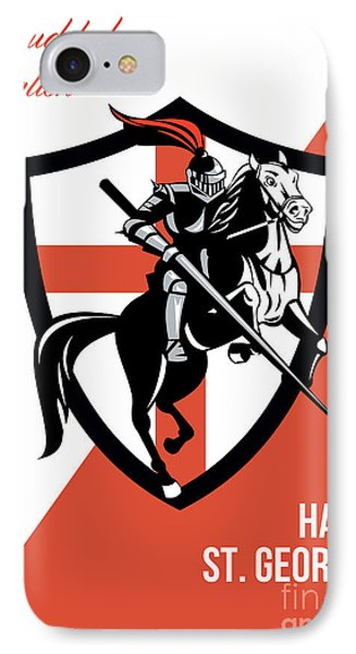 Proud To Be English Happy St George Day Retro Poster Phone Case by Aloysius Patrimonio
