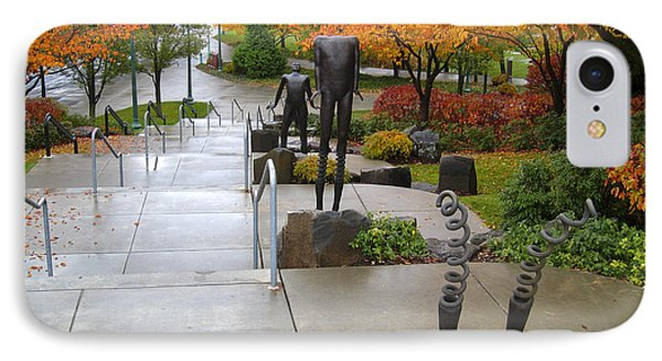Public Art And Fall Color At The Arena IPhone Case by Daniel Hagerman