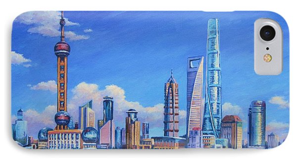Pudong Skyline  Shanghai IPhone Case by John Clark
