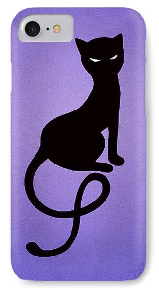 Purple Gracious Evil Black Cat Phone Case by Boriana Giormova