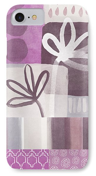 Purple Patchwork- Contemporary Art IPhone Case by Linda Woods