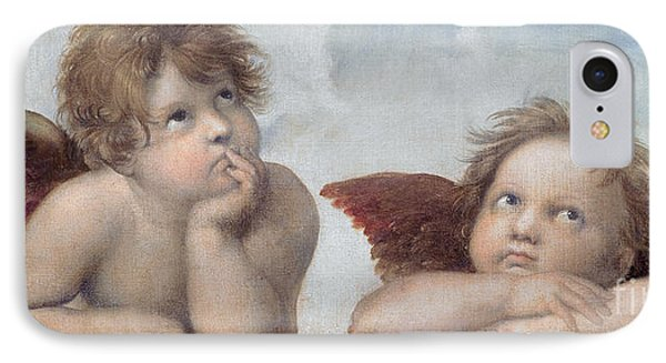 Putti Detail From The Sistine Madonna IPhone Case by Raphael