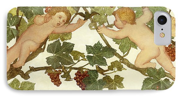 Putti Frolicking In A Vineyard IPhone Case by Phoebe Anna Traquair
