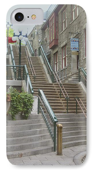 quaint  street scene  photograph THE BREAKNECK STAIRS of QUEBEC CITY   Phone Case by Ann Powell