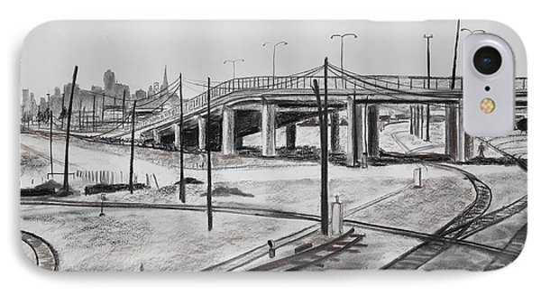 Quiet West Oakland Train Tracks With Overpass And San Francisco  Phone Case by Asha Carolyn Young