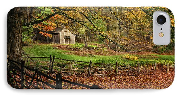 Quintessential Rustic Shack- A New England Autumn Scenic IPhone Case by Thomas Schoeller