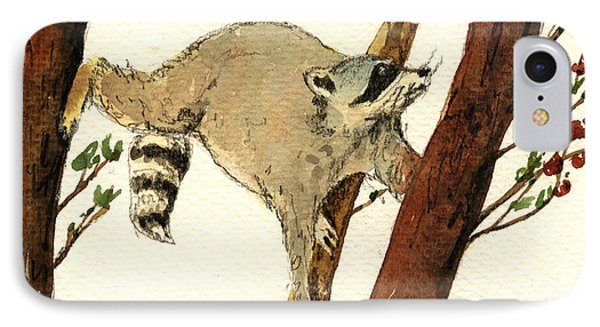 Raccoon On Tree IPhone Case by Juan  Bosco