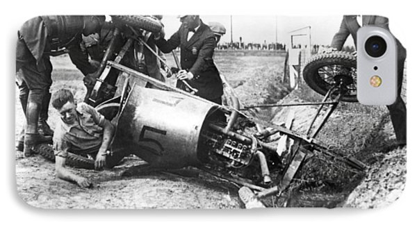 Race Car Driver Crashes IPhone Case by Underwood Archives