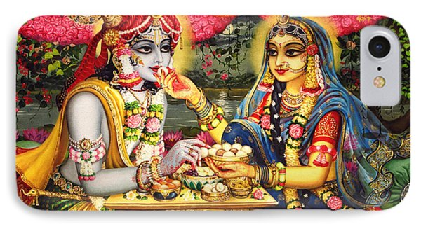 Radha Krishna Bhojan Lila On Yamuna IPhone Case by Vrindavan Das