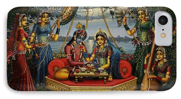 Radha Krishna Taking Meal   Phone Case by Vrindavan Das