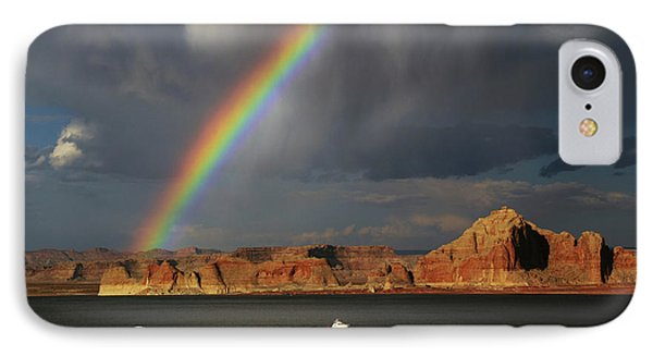 Rainbow Over Wahweap Marina, Lake IPhone Case by Michel Hersen