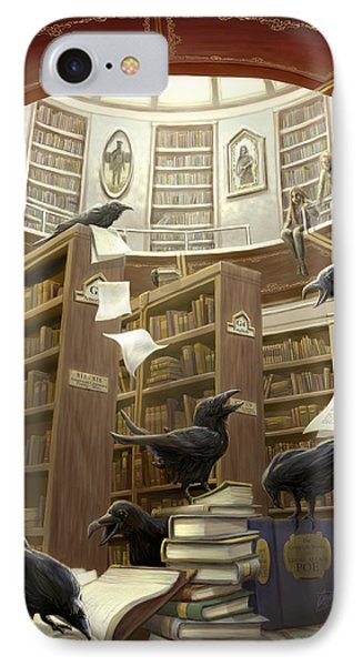 Ravens In The Library IPhone 7 Case by Rob Carlos