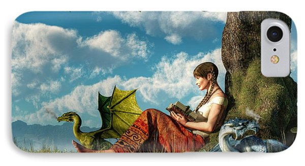 Reading About Dragons IPhone Case by Daniel Eskridge