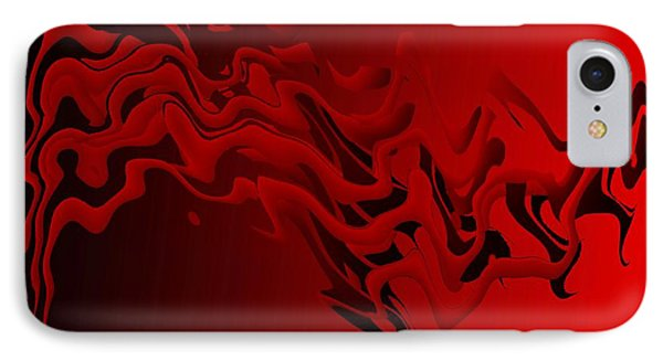 Red And Black Abstract Art In Digital Art Phone Case by Mario Perez