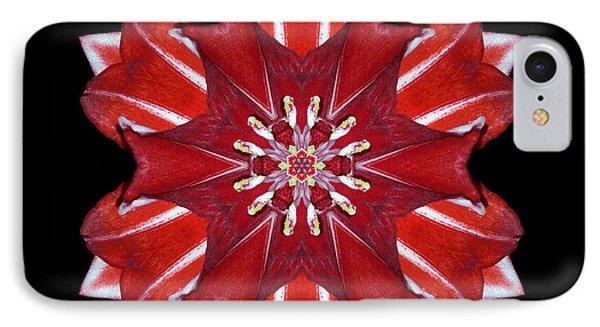 Red And White Amaryllis Vii Flower Mandala Phone Case by David J Bookbinder