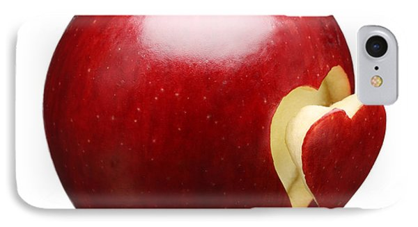 Red Apple With Heart IPhone Case by Johan Swanepoel