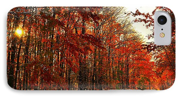 Red Autumn Road In Snow Phone Case by Terri Gostola