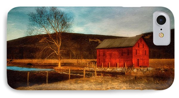 Red Barn At Twilight IPhone Case by Lois Bryan