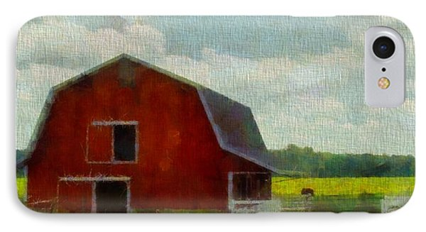 Red Barn In Ohio IPhone Case by Dan Sproul