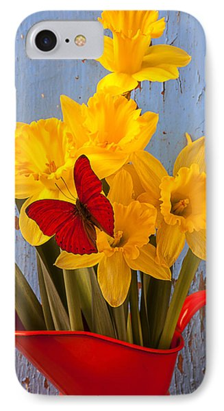 Red Butterfly On Daffodils Phone Case by Garry Gay