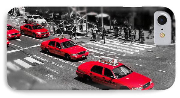Red Cabs On Time Square Phone Case by Hannes Cmarits