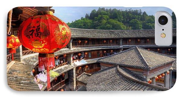 Red Chinese Lantern In A Hakka Tulou  Fujian Phone Case by Fototrav Print