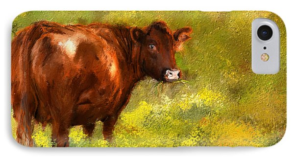 Red Devon Cattle On Green Pasture IPhone Case by Lourry Legarde