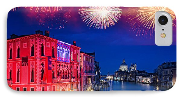 Red Fireworks In Venice IPhone Case by Delphimages Photo Creations