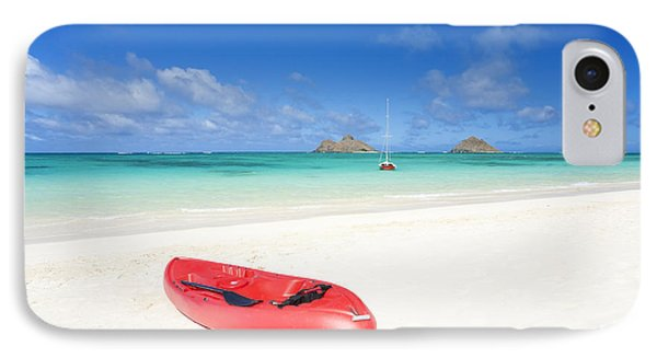 Red Kayak At Lanikai Phone Case by M Swiet Productions