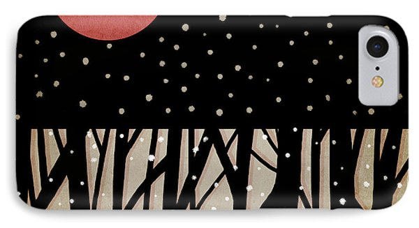 Red Moon And Snow IPhone Case by Carol Leigh