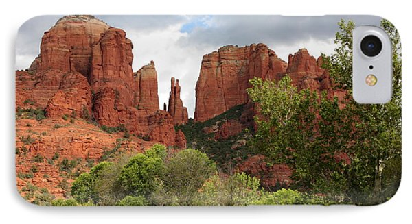Red Rocks Of Sedona With Spring Trees IPhone Case by Carol Groenen