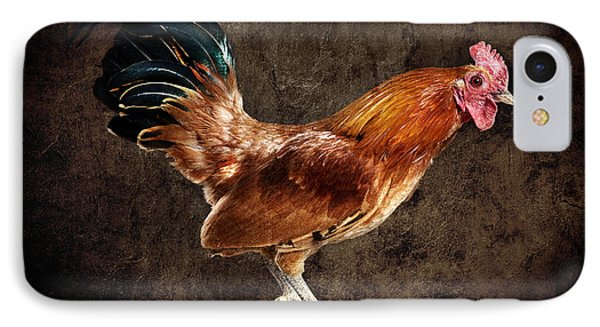Red Rooster On Fence Post Phone Case by Cindy Singleton