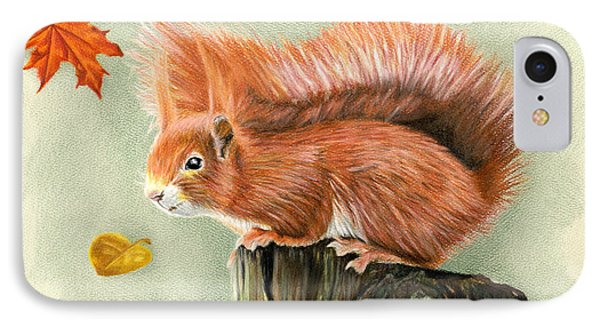 Red Squirrel In Autumn IPhone 7 Case by Sarah Batalka