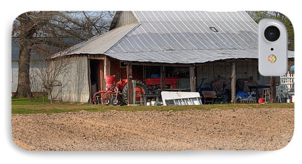 Red Tractor In A Tin Roofed Shed Phone Case by Paulette B Wright