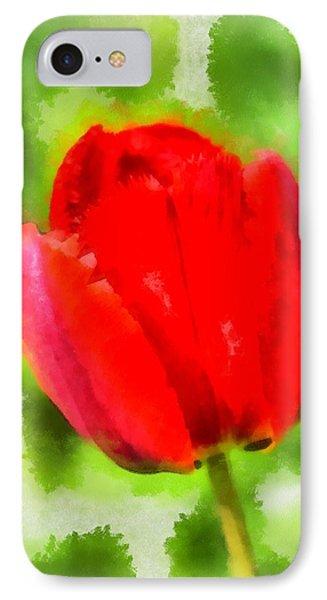 Red Tulip Aquarell IPhone Case by Matthias Hauser