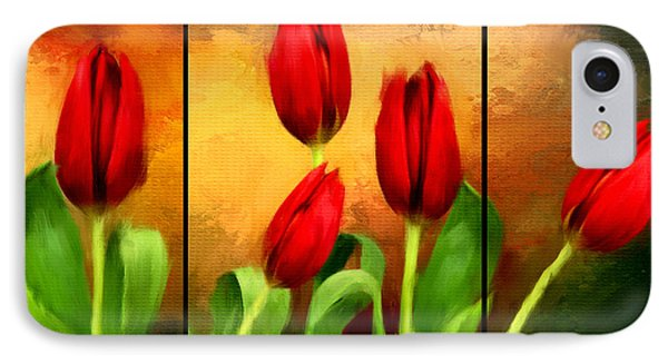 Red Tulips Triptych IPhone 7 Case by Lourry Legarde