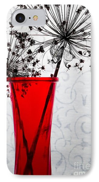 Red Vase With Dried Flowers Phone Case by Michael Arend