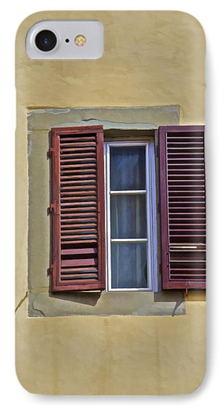 Red Window Shutters Of Florence IPhone Case by David Letts