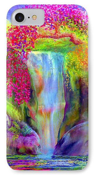 Waterfall And White Peacock, Redbud Falls IPhone Case by Jane Small