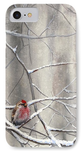 Redpoll Eyeing The Feeder - 1 IPhone Case by Karen Whitworth