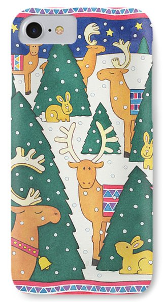 Reindeers Around The Christmas Trees IPhone Case by Cathy Baxter