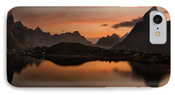 Reine Village With Dark Mountains IPhone Case by Panoramic Images